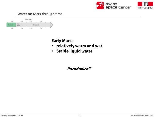 Water on Mars through time  • •  Tuesday, November 12 2013  23  Dr Harold Clenet, EPSL, EPFL