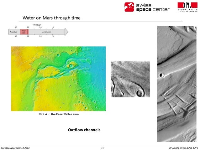 Water on Mars through time  MOLA in the Kasei Valles area  Outflow channels  Tuesday, November 12 2013  24  Dr Harold Clen...