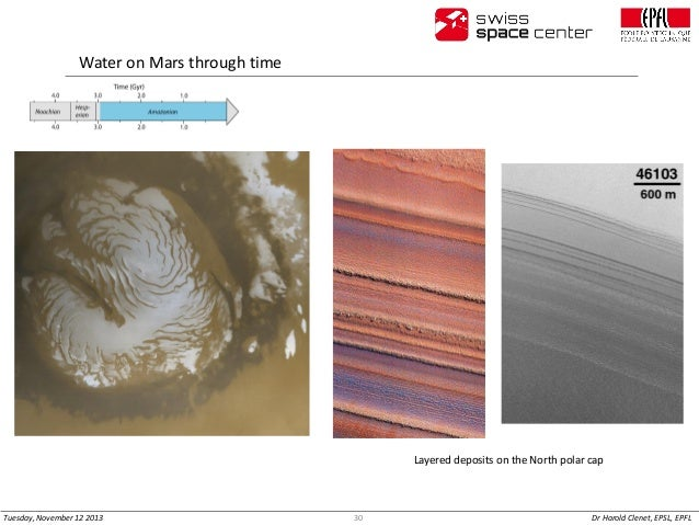 Water on Mars through time  Layered deposits on the North polar cap  Tuesday, November 12 2013  30  Dr Harold Clenet, EPSL...