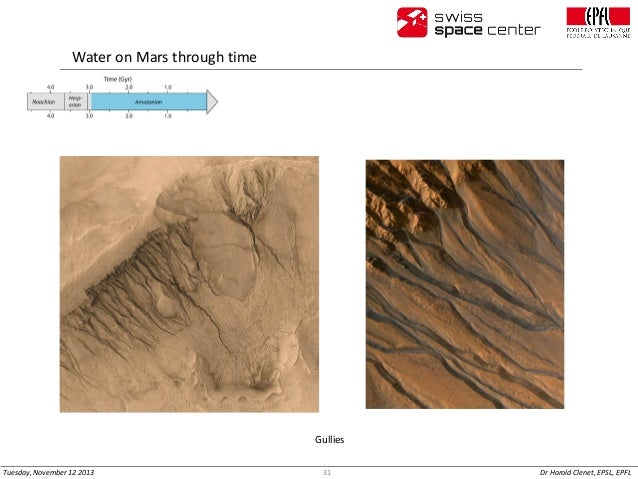 Water on Mars through time  Gullies Tuesday, November 12 2013  31  Dr Harold Clenet, EPSL, EPFL