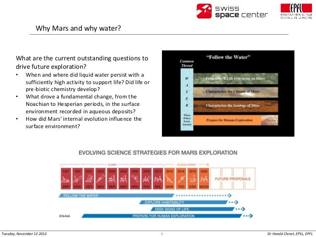 Why Mars and why water?  What are the current outstanding questions to drive future exploration? •  • •  When and where di...