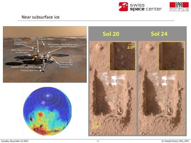 Near subsurface ice  Tuesday, November 12 2013  40  Dr Harold Clenet, EPSL, EPFL