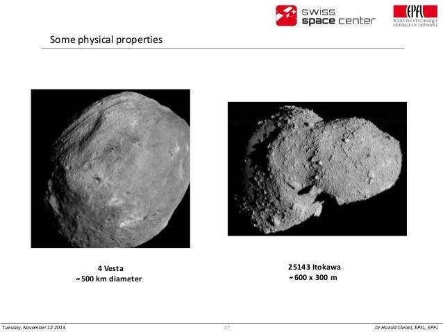 Some physical properties  25143 Itokawa ̴ 600 x 300 m  4 Vesta ̴ 500 km diameter  Tuesday, November 12 2013  27  Dr Harold...