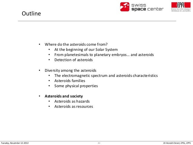 Outline  •  •  Diversity among the asteroids • The electromagnetic spectrum and asteroids characteristics • Asteroids fami...