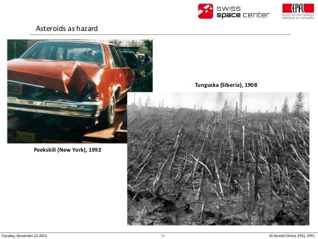 Asteroids as hazard  Tunguska (Siberia), 1908  Peekskill (New York), 1992  Tuesday, November 12 2013  34  Dr Harold Clenet...