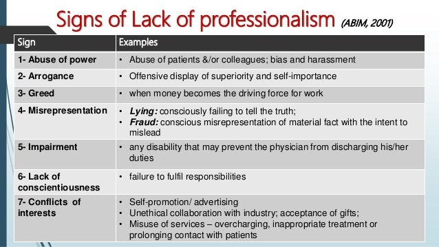 Lecture 9 Professionalism In Medical Practice 06032017