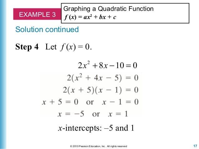 x intercept formula quadratic function  Lecture 13 quadratic equations