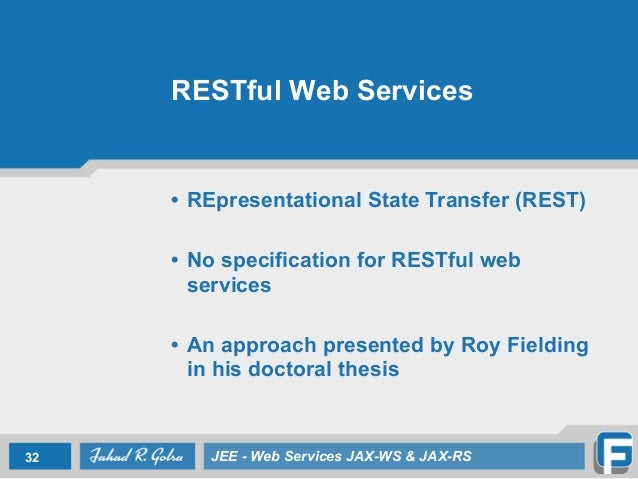thesis on java web services Restful web service thesis restful web service thesis alex antonov explains why orbitz needed to ditch jini and java serialization in favor of rest.