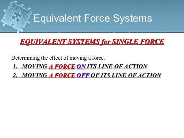 Equivalent Force Systems EQUIVALENT SYSTEMS for SINGLE FORCEEQUIVALENT SYSTEMS for SINGLE FORCE Determining the effect of ...