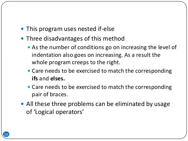 29  This program uses nested if-else  Three disadvantages of this method  As the number of conditions go on increasing ...