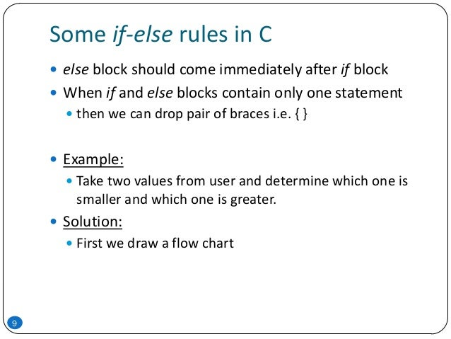 Some if-else rules in C 9  else block should come immediately after if block  When if and else blocks contain only one s...