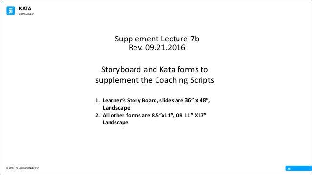 KATA © 2016 The Leadership Network® © 2016 Jidoka® 01 StoryboardandKataformsto supplementtheCoachingScripts 1. Lea...
