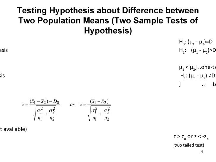 two sample hypothesis Statistical test for population proportion and population mean statistical and practical significances using a confidence interval to draw a conclusion about a two-tailed test a reminder of.
