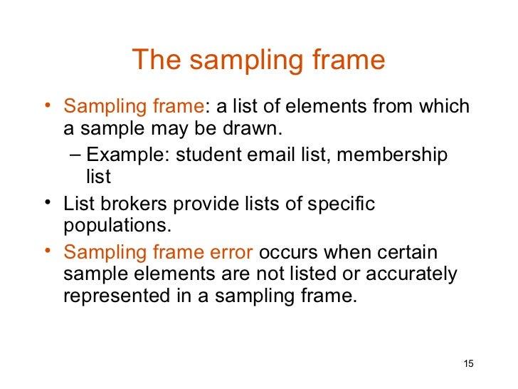 Use 'sampling frame' in a Sentence