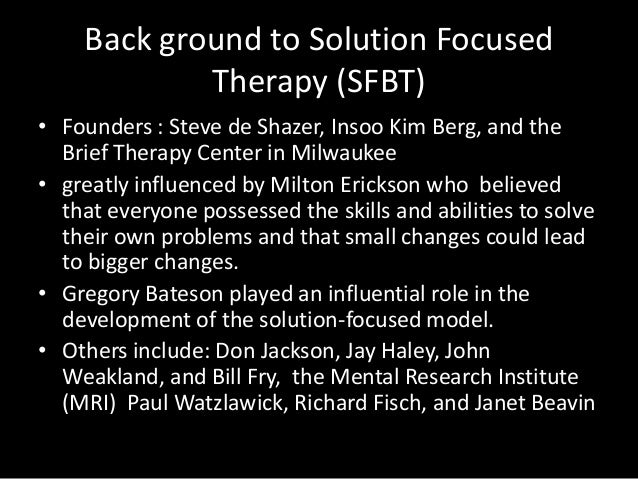 solution focused brief therapy essay example Solution-focused brief therapy - vargas family case study, psychology homework help.
