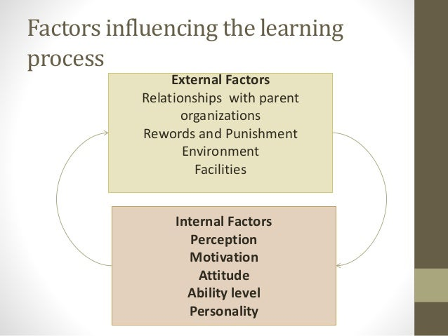 factors that influence learning The factors that can affect learning and development children's development can be affected positively and negatively by a variety of different factors these factors can take place externally and have a significant effect on a child's life chances.