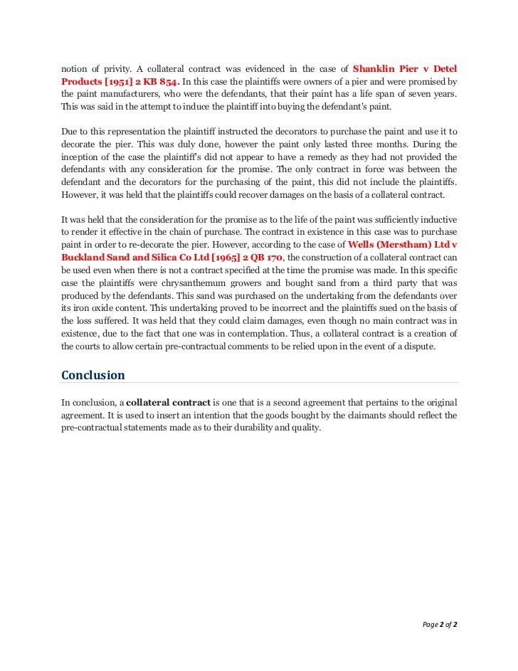Lecture 8 collateral contracts notes 2 notion of privity a collateral contract platinumwayz