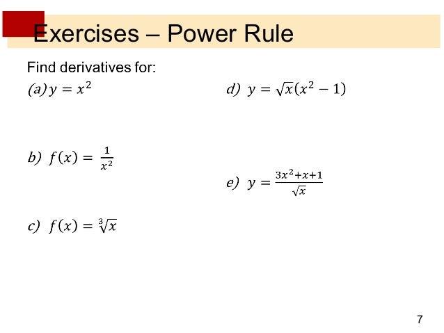Lecture 8 derivative rules