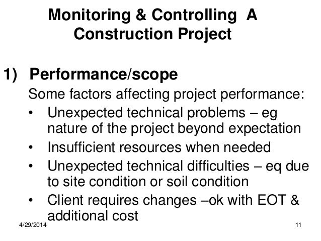 performance of any construction project Performance measurement and benchmarking, in particular, have played an  of  construction projects, contract management and performance evaluation of the.