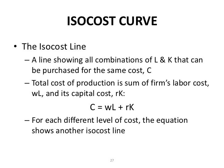 what is iso cost line