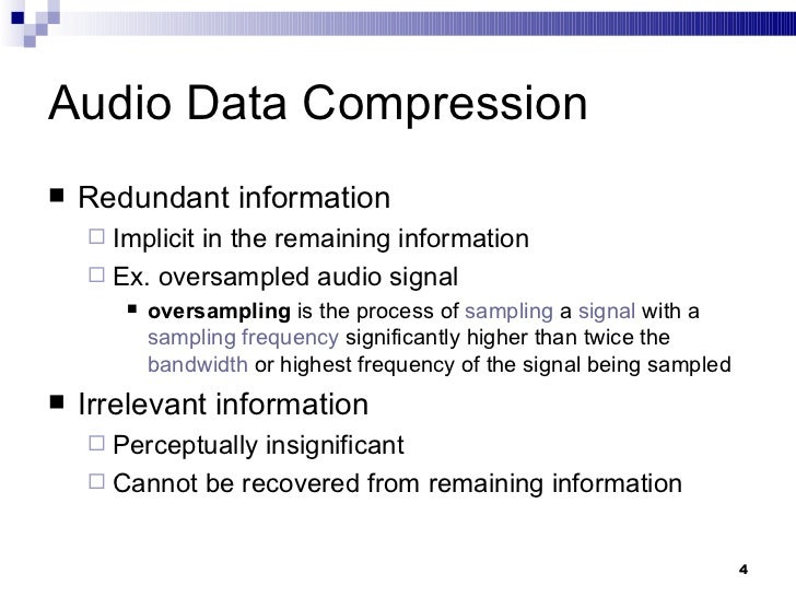 overview of audio compression Audio effects this page provides an overview of the most common audio effects used in sound production, with links to more detailed tutorials  audio compression.