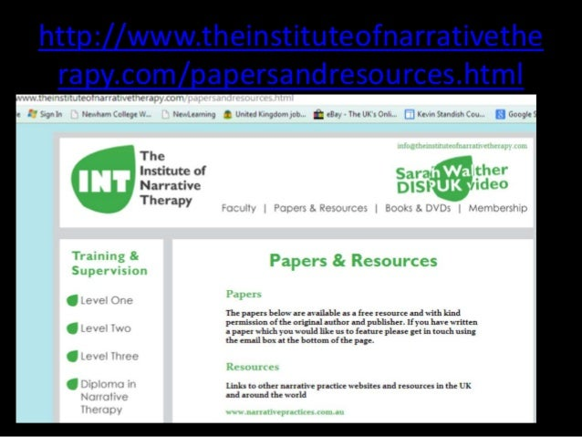 narrative therpay What is narrative therapy by alice morgan we have included here, the introduction and first two chapters from alice morgan's influential and.