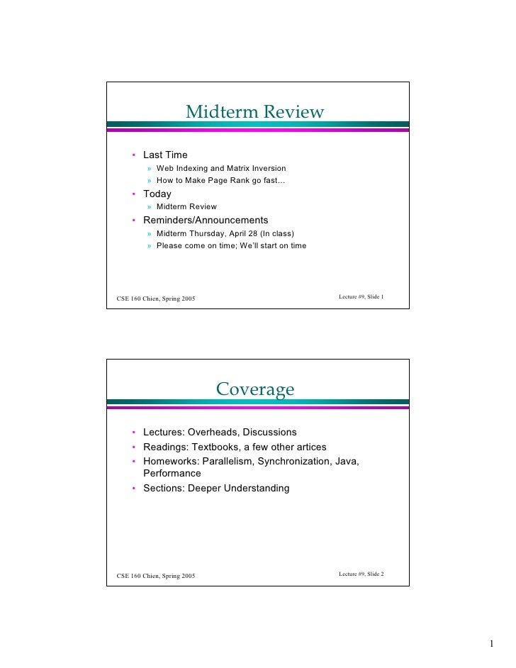 Midterm Review       • Last Time           » Web Indexing and Matrix Inversion           » How to Make Page Rank go fast… ...