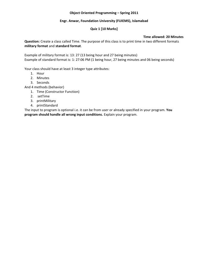 Object Oriented Programming – Spring 2011                       Engr. Anwar, Foundation University (FUIEMS), Islamabad    ...