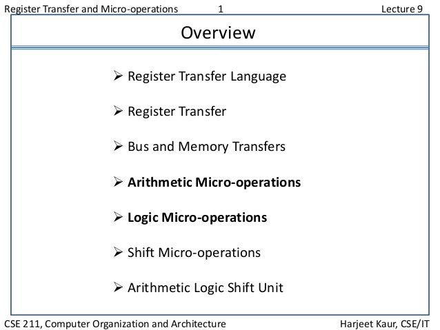 Register Transfer and Micro-operations 1 Lecture 9 CSE 211, Computer Organization and Architecture Harjeet Kaur, CSE/IT Ov...