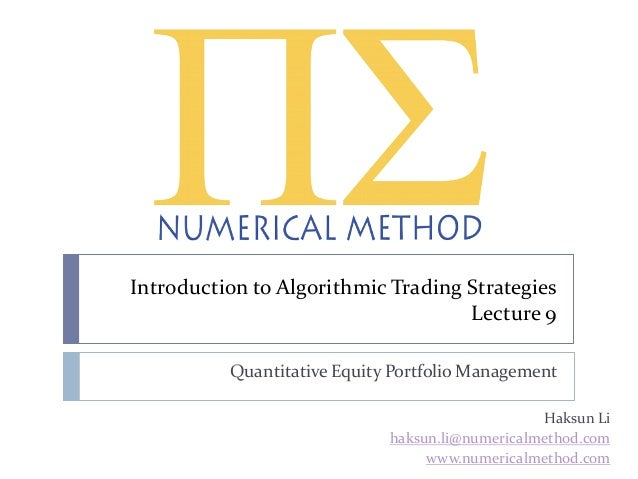 Intro to Quant Trading Strategies (Lecture 9 of 10)