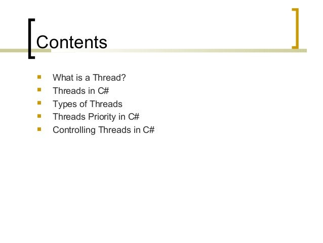Threads And Synchronization in C# Slide 2