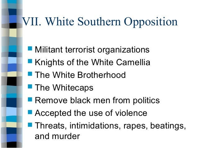 knights of the white camellia The white supremacist group knights of the white camellia emerged during reconstruction, and were referred to as louisiana's version of the ku klux klan.