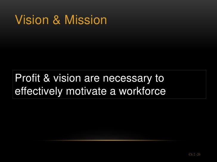 Vision & MissionProfit & vision are necessary toeffectively motivate a workforce                                   Ch 2 -20