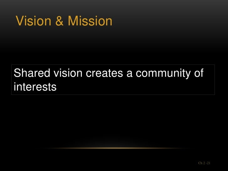Vision & MissionShared vision creates a community ofinterests                                  Ch 2 -21