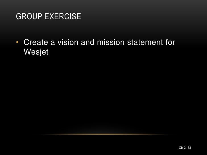 GROUP EXERCISE• Create a vision and mission statement for  Wesjet                                              Ch 2 -38