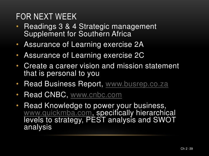 FOR NEXT WEEK• Readings 3 & 4 Strategic management  Supplement for Southern Africa• Assurance of Learning exercise 2A• Ass...