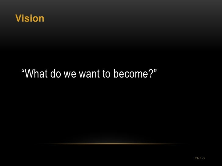 """Vision """"What do we want to become?""""                                Ch 2 -5"""