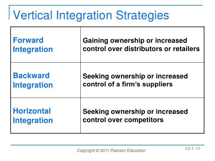 Vertical Integration StrategiesForward         Gaining ownership or increasedIntegration     control over distributors or ...