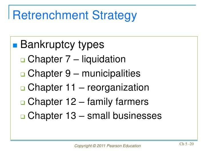 Retrenchment Strategy   Bankruptcy types     Chapter 7 – liquidation     Chapter 9 – municipalities     Chapter 11 – r...