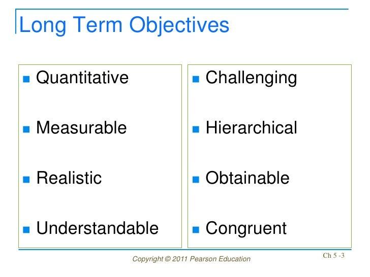 Long Term Objectives   Quantitative                       Challenging   Measurable                         Hierarchica...
