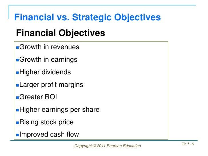 Financial vs. Strategic ObjectivesFinancial ObjectivesGrowth    in revenuesGrowth    in earningsHigher   dividendsLarg...