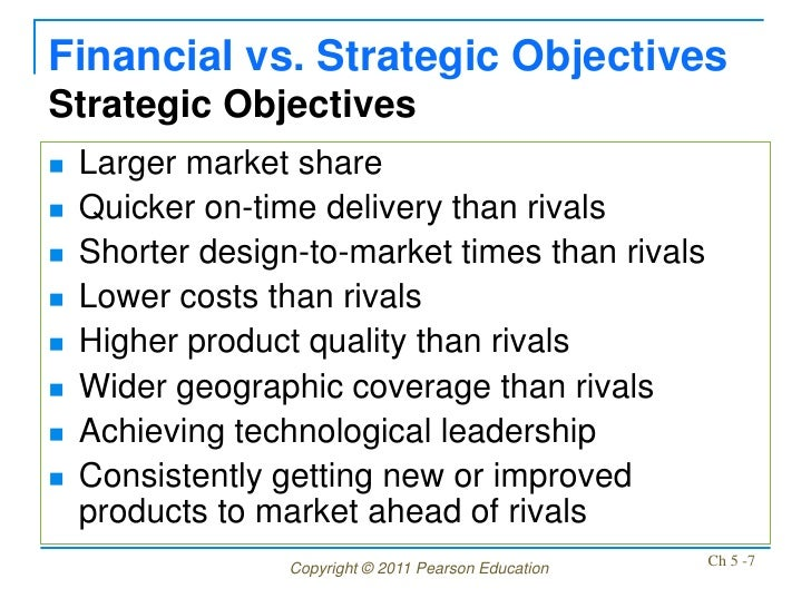 Financial vs. Strategic ObjectivesStrategic Objectives   Larger market share   Quicker on-time delivery than rivals   S...