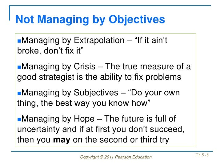 """Not Managing by ObjectivesManaging   by Extrapolation – """"If it ain'tbroke, don't fix it""""Managing  by Crisis – The true m..."""