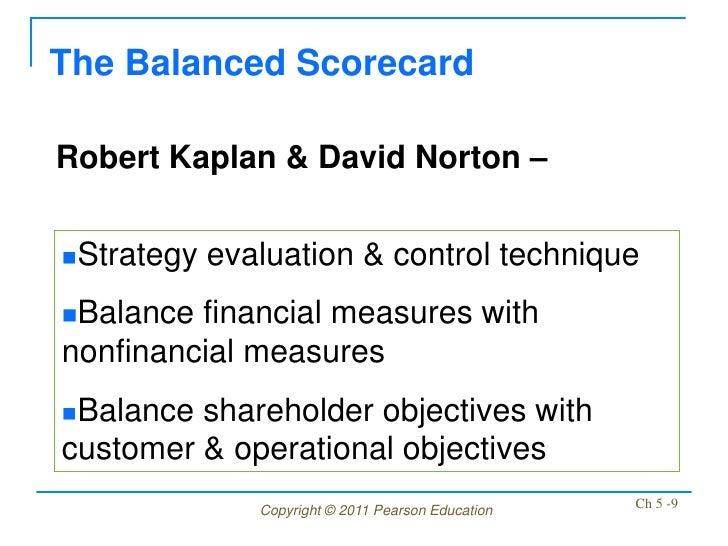 The Balanced ScorecardRobert Kaplan & David Norton –Strategy   evaluation & control techniqueBalance financial measures ...