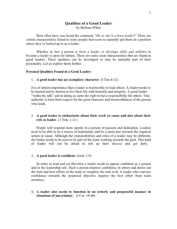 Leadership Essay: Characteristics Of A Good Leader