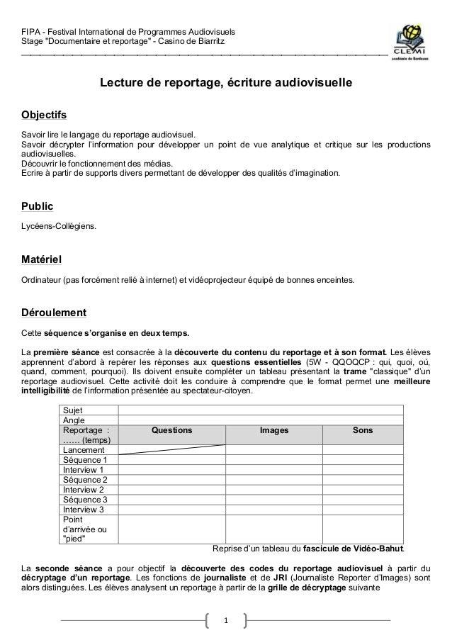 "FIPA - Festival International de Programmes Audiovisuels Stage ""Documentaire et reportage"" - Casino de Biarritz __________..."