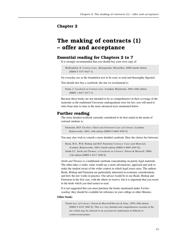 Chapter 2: The making of contracts (1) – offer and acceptanceChapter 2The making of contracts (1)– offer and acceptanceEss...
