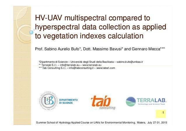 HVHV--UAVUAV multispectral compared tomultispectral compared to hyperspectralhyperspectral data collection as applieddata ...