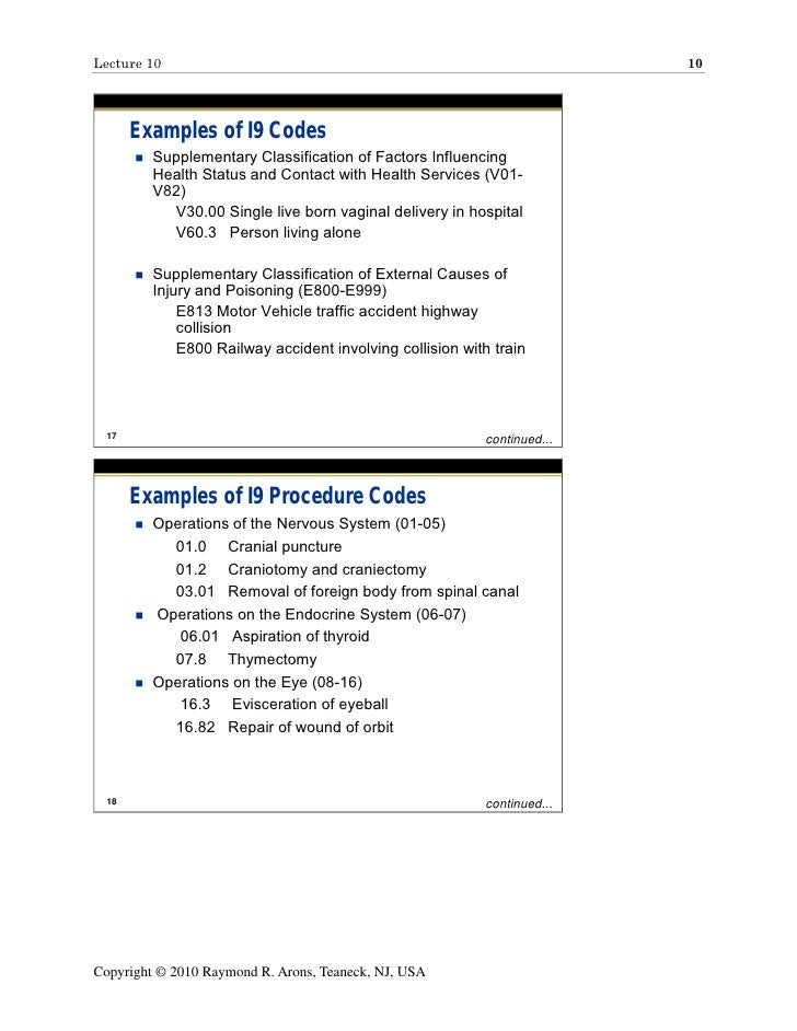 Lecture 10 10 Examples of I9 Codes Supplementary Classification of Factors Influencing Health Status and Contact with Health Services (V01- V82) V30.00 ...