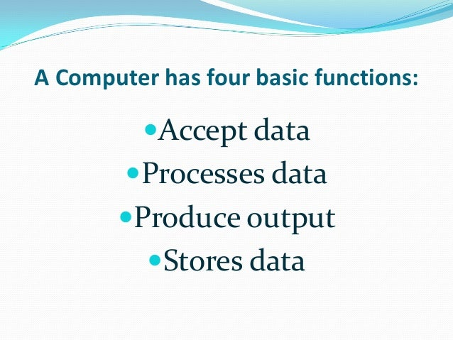basic computer concepts Basic computer concepts what is a computer an electronic device, operating under the control of instructions stored in its own memory unit, that can accept data .